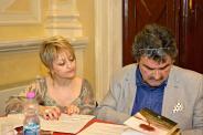 Jesi, Palazzo dei Convegni, sabato 4 giugno 2016 - Presentazione della Ass. Culturale Euterpe - Da sx: Alessandra Montali, Oscar Sartarelli