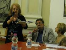 Jesi, Palazzo dei Convegni, sabato 4 giugno 2016 - Presentazione della Ass. Culturale Euterpe - Da sx: Melita Gianandrea e Oscar Sartarelli