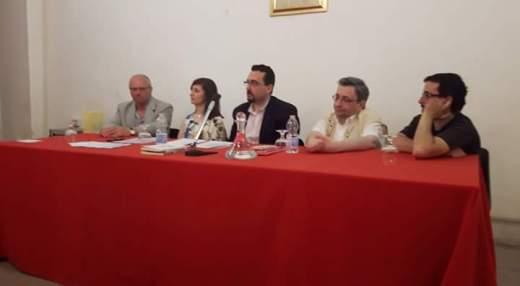 PALERMO - Villa Niscemi - 11-06-2016 - Reading poetico - Da sx: Elvio Angeletti, Emanuela Inglima, Lorenzo Spurio, Emanuele Marcuccio, Luigi Pio Carmina